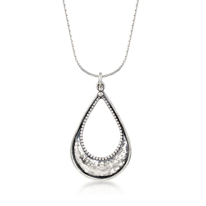 """Sterling Silver Textured and Polished Open Teardrop Necklace. 18"""", , default"""