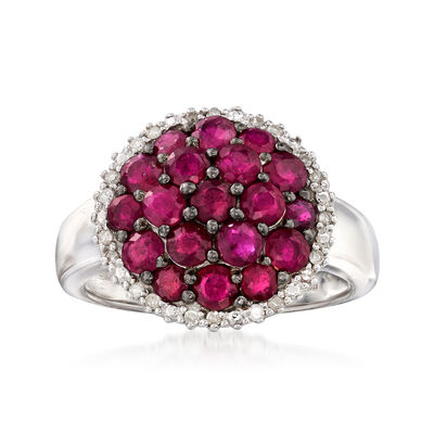 2.50 ct. t.w. Ruby and .12 ct. t.w. Diamond Cluster Ring in Sterling Silver, , default