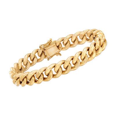 Italian Men's 14kt Yellow Gold Curb-Link Bracelet, , default