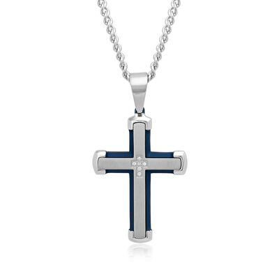 Men's White and Blue Stainless Steel Cross Pendant Necklace with Diamond Accents