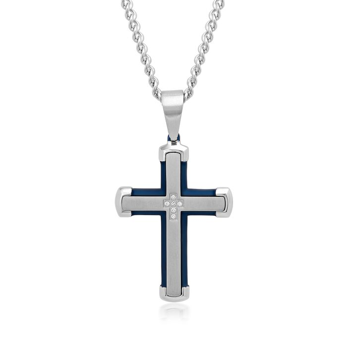Men's White and Blue Stainless Steel Cross Pendant Necklace with Diamond Accents. 24""