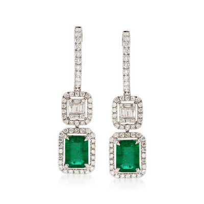 2.70 ct. t.w. Emerald and 1.20 ct. t.w. Diamond Drop Earrings , , default