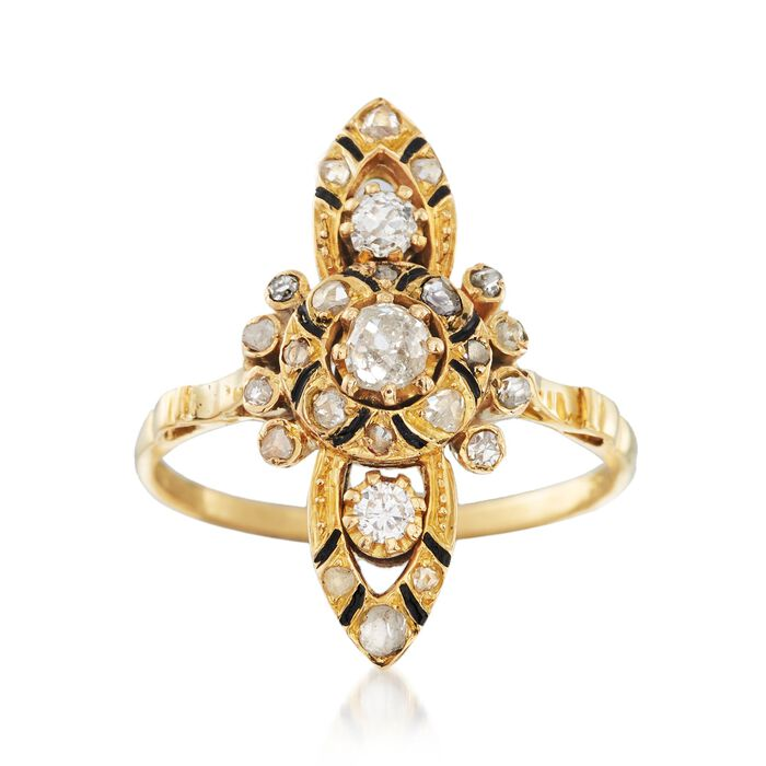 C. 1980 Vintage .55 ct. t.w. Diamond Dinner Ring in 18kt Yellow Gold. Size 6.75