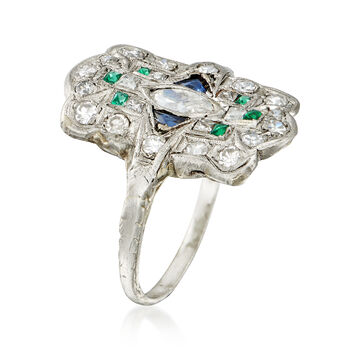 C. 1950 Vintage .70 ct. t.w. Diamond and .18 ct. t.w. Synthetic Multi-Stone Dinner Ring in Platinum. Size 5.75, , default