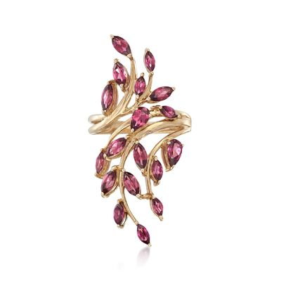 2.80 ct. t.w. Purple Rhodolite Leaf Bypass Ring in 14kt Yellow Gold