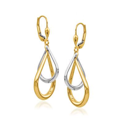 14kt Two-Tone Gold Teardrop Earrings, , default