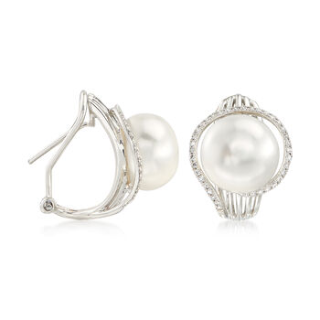 10-10.5mm Cultured Pearl and .21 ct. t.w. Diamond Spoked Earrings in 14kt White Gold, , default