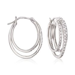 ".98 ct. t.w. Diamond Triple-Hoop Earrings in Sterling Silver. 7/8"", , default"
