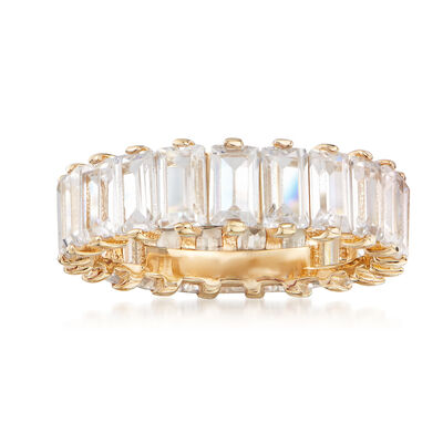 6.00 ct. t.w. Baguette CZ Eternity Band in 18kt Gold Over Sterling