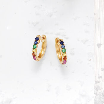 ".28 ct. t.w. Multi-Gemstone Huggie Hoop Earrings in 14kt Yellow Gold. 3/8"", , default"