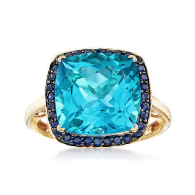 9.50 Carat Blue Topaz and .30 ct. t.w. Sapphire Ring in 14kt Yellow Gold, , default