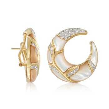 C. 1980 Vintage 1.20 ct. t.w. Diamond and Mother-Of-Pearl Half-Moon Hoop Earrings in 18kt Yellow Gold. 3/4""