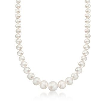 4-15mm Graduated Cultured Pearl Necklace With 14kt Yellow Gold, , default