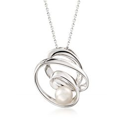 "8-8.5mm Cultured Pearl Swirl Pendant Necklace in Sterling Silver. 18"", , default"