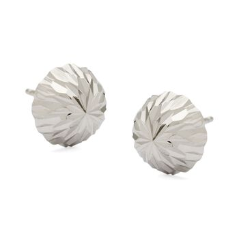 10mm 14kt White Gold Diamond-Cut Dome Ball Earrings, , default