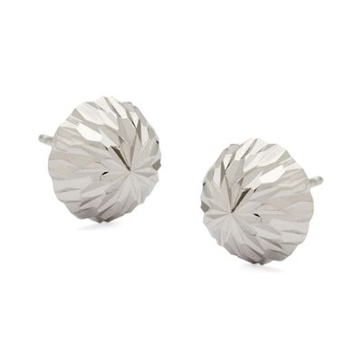 10mm 14kt White Gold Diamond-Cut Dome Ball Earrings, , default