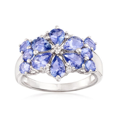 3.10 ct. t.w. Tanzanite and .10 ct. t.w. White Topaz Floral Ring in Sterling Silver, , default
