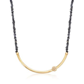 16.50 ct. t.w. Black Diamond  Curved Bar Necklace With White Diamonds in 14kt Yellow Gold , , default