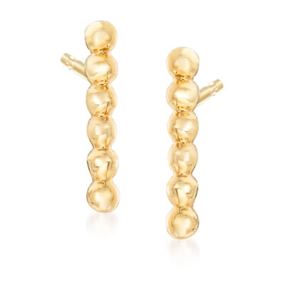 Gabriel Designs 14kt Yellow Gold Beaded Bar Stud Earrings