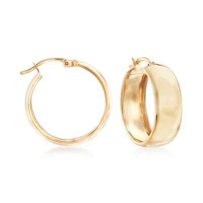 18kt Yellow Gold Over Sterling Silver Hoop Earrings, , default