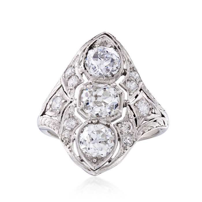 C. 1925 Vintage 2.33 ct. t.w. Diamond Navette Ring in Platinum. Size 6