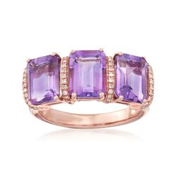 4.20 ct. t.w. Amethyst Three-Stone Ring With .10 ct. t.w. Diamonds in 14kt Rose Gold, , default