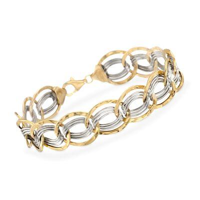 14kt Two-Tone Gold Interlocking Oval Link Bracelet, , default