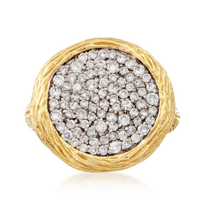 C. 1990 Vintage .90 ct. t.w. Diamond Circle Ring in 14kt Yellow Gold. Size 7, , default