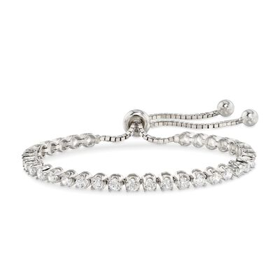 3.50 ct. t.w. CZ Bolo Tennis Bracelet in Sterling Silver, , default