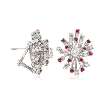 C. 1960 Vintage .55 ct. t.w. Ruby and .75 ct. t.w. Diamond Snowflake Earrings, , default