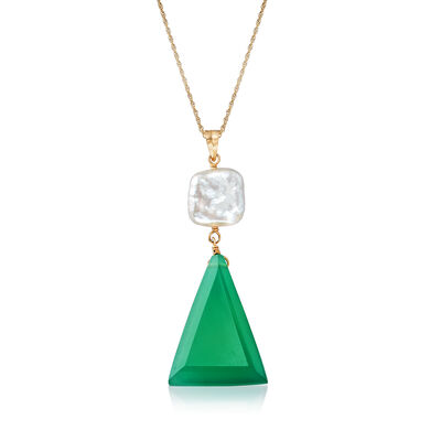 10x10mm Cultured Pearl and Green Chalcedony Pendant Necklace in 14kt Yellow Gold
