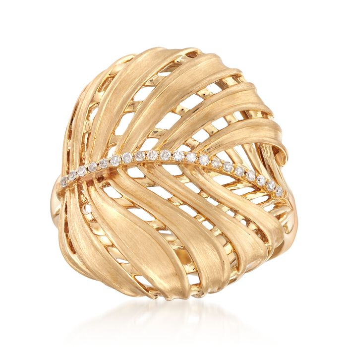 18kt Yellow Gold Leaf Ring with Diamond Accents