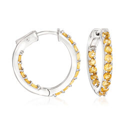 "2.80 ct. t.w. Citrine Inside-Outside Hoop Earrings in Sterling Silver. 1"", , default"
