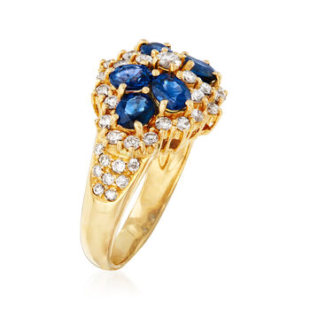 C. 1990 Vintage 1.80 ct. t.w. Sapphire and .80 ct. t.w. Diamond Ring in 18kt Yellow Gold. Size 6.5