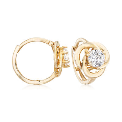 .70 ct. t.w. CZ Huggie Hoop Earrings in 14kt Yellow Gold, , default