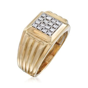 Men's .50 ct. t.w. Diamond Square-Top Ring in 14kt Two-Tone Gold. Size 10