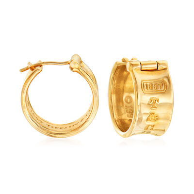 C. 1997 Vintage Tiffany Jewelry 18kt Yellow Gold Hoop Earrings, , default