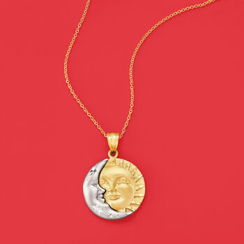 14kt Two-Tone Gold Sun and Moon Pendant Necklace, , default