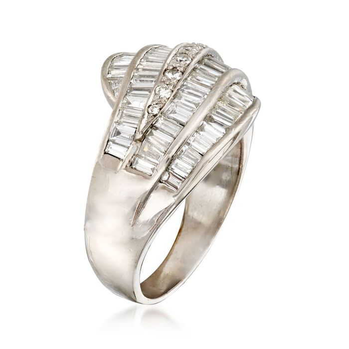 C. 1990 Vintage 2.40 ct. t.w. Baguette and Round Diamond Wave Ring in 18kt White Gold