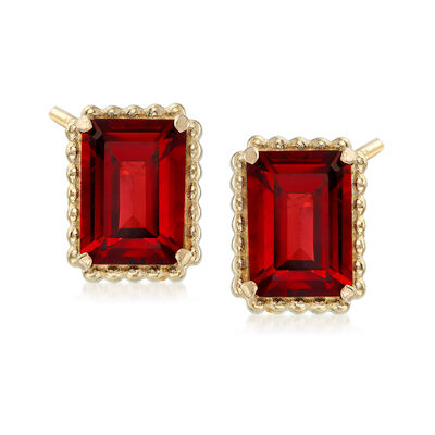 3.80 ct. t.w. Garnet and 14kt Yellow Gold Beaded Frame Earrings, , default
