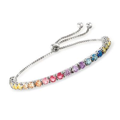 5.52 ct. t.w. Multicolored CZ Bolo Bracelet in Sterling Silver, , default