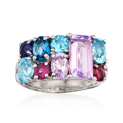 8.60 ct. t.w. Multi-Gemstone Ring in Sterling Silver