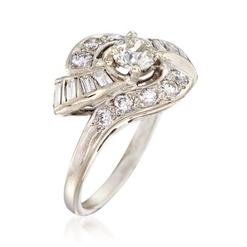 C. 1940 Vintage 2.00 ct. t.w. Diamond Swirl Ring in 14kt White Gold. Size 6, , default