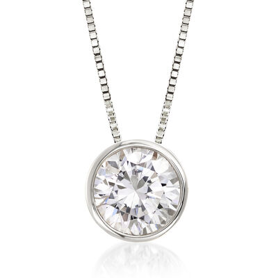 1.00 Carat Bezel-Set Diamond Solitaire Necklace in 14kt White Gold, , default