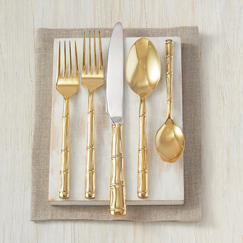 "Wallace ""Bamboo"" Gold-Plated Stainless Steel Flatware, , default"