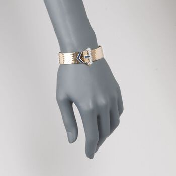 """C. 1950 Vintage Tiffany Jewelry .85 ct. t.w. Sapphire and .65 ct. t.w. Diamond Buckle Bracelet in 14kt Yellow Gold. 7"""", , default"""