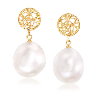 13-14mm Cultured Pearl Webbed Drop Earrings in 14kt Yellow Gold, , default