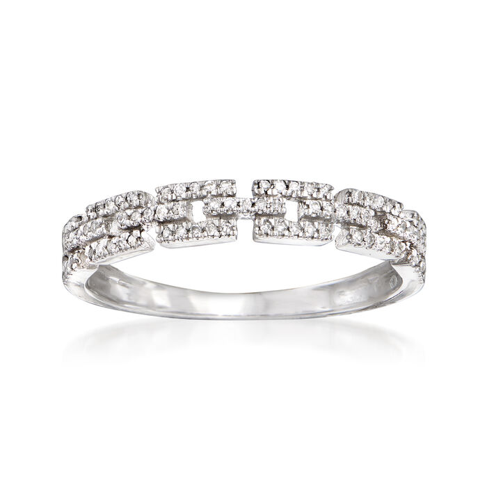 .11 ct. t.w. Diamond Link Ring in 14kt White Gold. Size 9