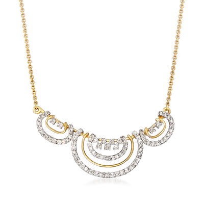 .55 ct. t.w. Diamond Curved Bar Open-Space Necklace in 14kt Yellow Gold
