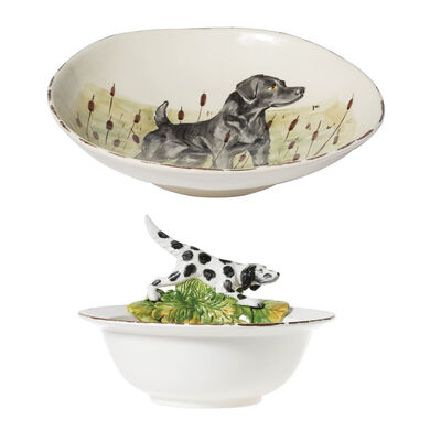 """Vietri """"Wildlife"""" Hunting Dog Serving Bowl from Italy"""